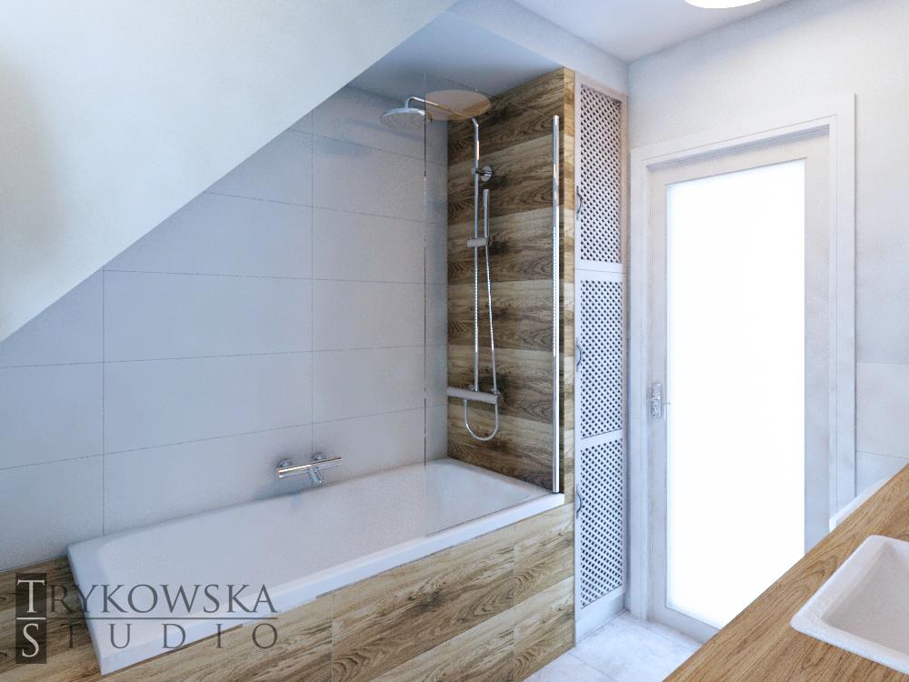 Jak zaprojektować łazienkę ze skosem? Pod obniżenie można zmieścić wannę